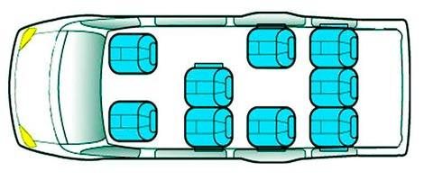 расположение мест в автобусе Днепр - Тула