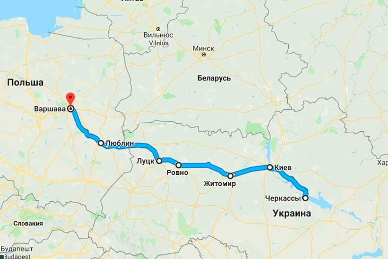 Маршрут автобуса Черкассы - Варшава