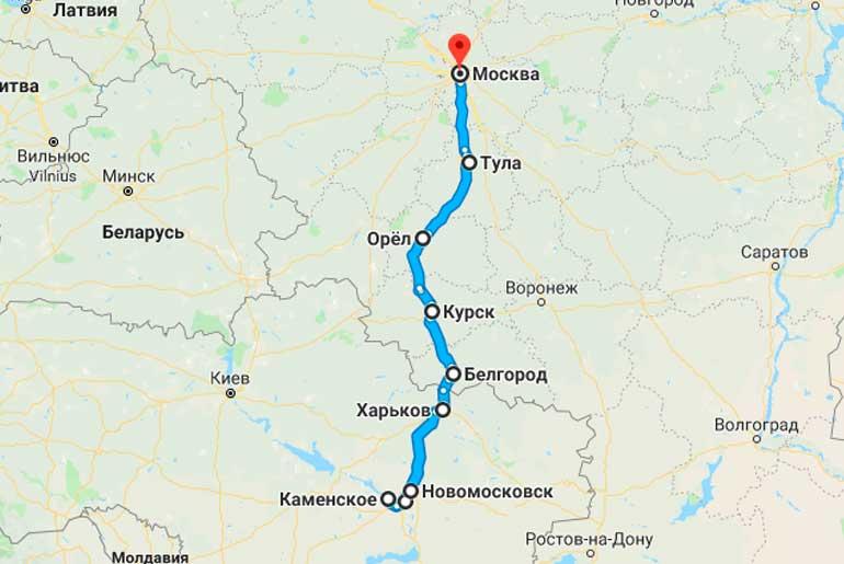 Маршрут автобуса Днепродзержинск (Каменское) - Москва