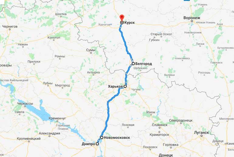 Маршрут автобуса Днепр - Курск