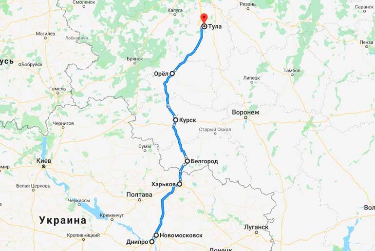 Маршрут автобуса Днепр - Тула