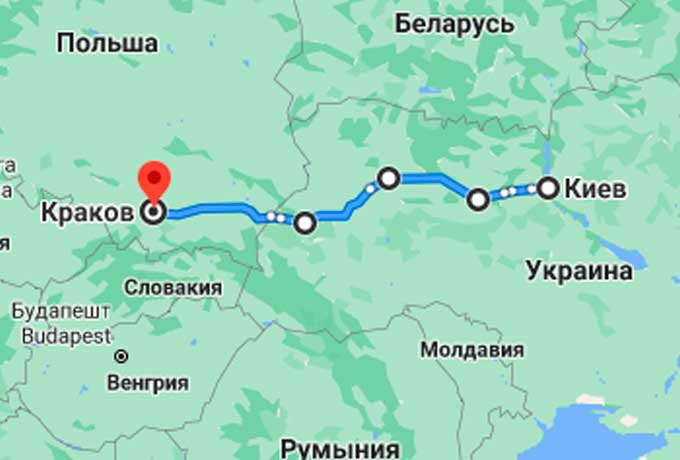 Маршрут автобуса Киев - Краков