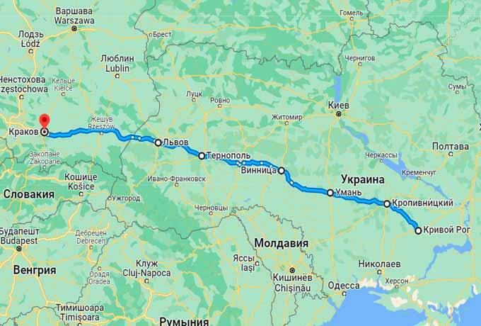 Маршрут автобуса Кривой Рог - Краков