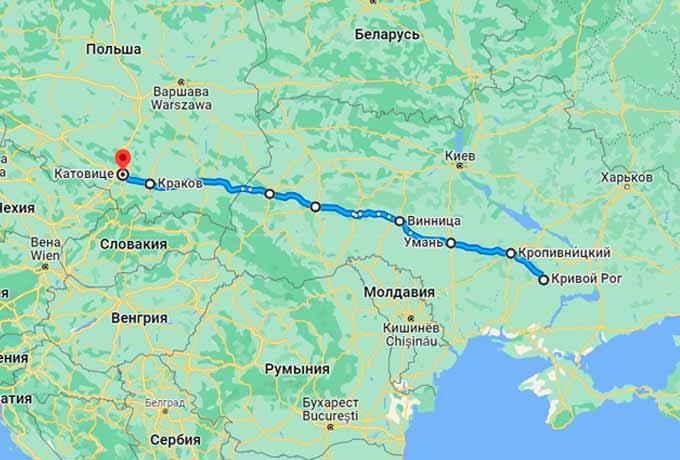 Маршрут автобуса Кривой Рог - Вроцлав