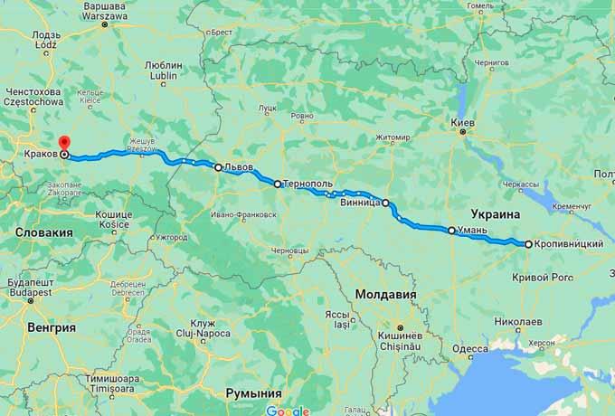 Маршрут автобуса Кировоград (Кропивницкий) - Краков