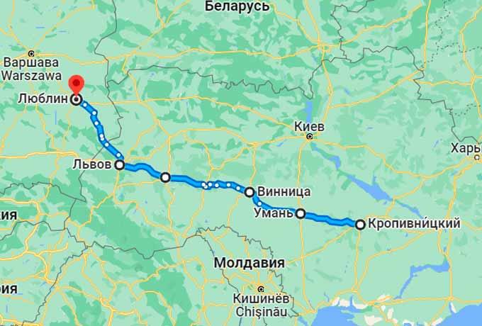 Маршрут автобуса Кировоград (Кропивницкий) - Люблин