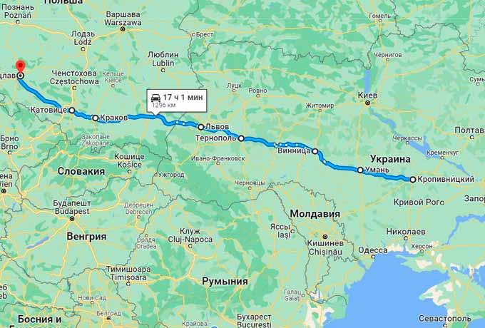 Маршрут автобуса Кировоград (Кропивницкий) - Вроцлав