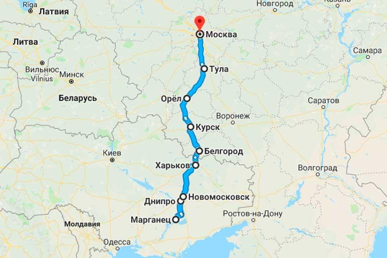 Маршрут автобуса Марганец - Москва
