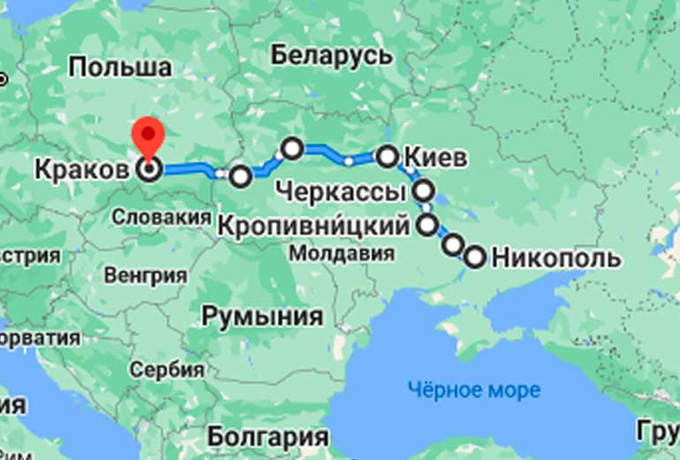 Маршрут автобуса Никополь - Краков