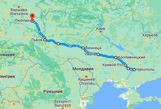 Маршрут автобуса Никополь - Люблин