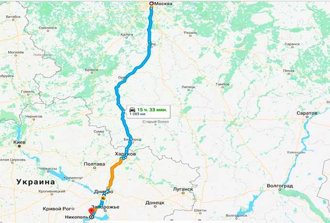 Маршрут автобуса Никополь - Москва