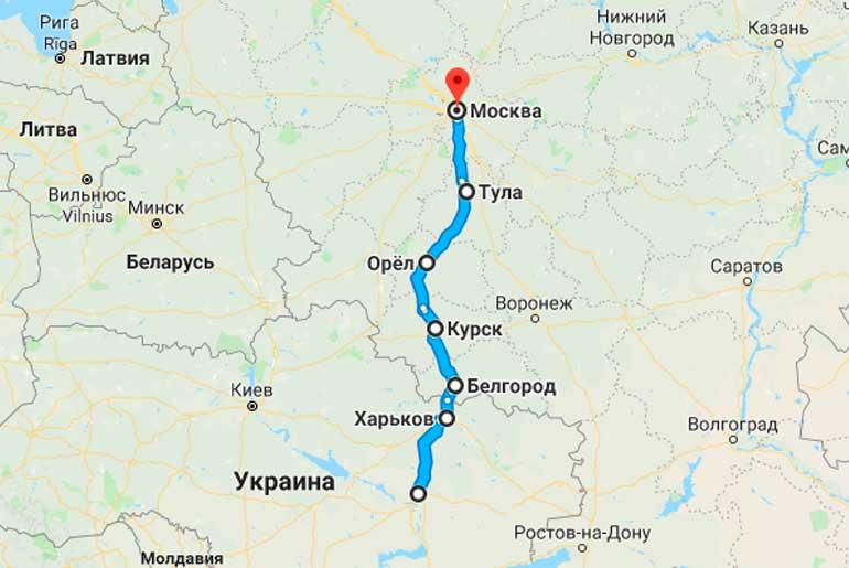 Маршрут автобуса Новомосковск - Москва
