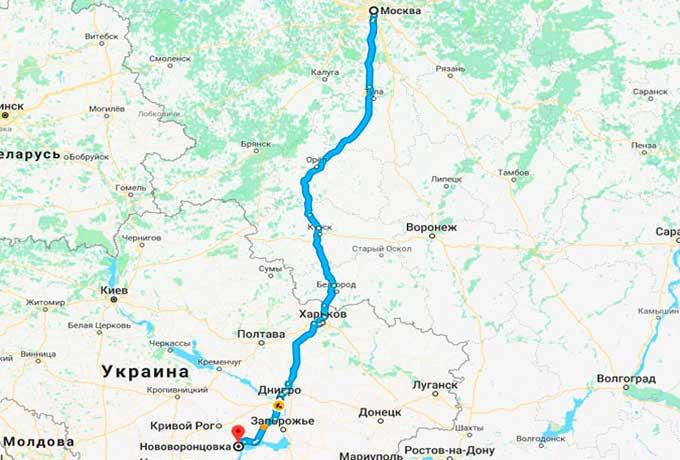 Маршрут автобуса Нововоронцовка - Москва
