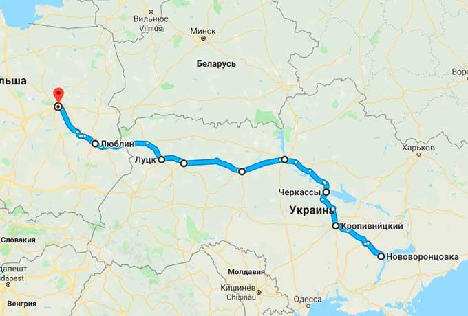 Маршрут автобуса Нововоронцовка - Варшава