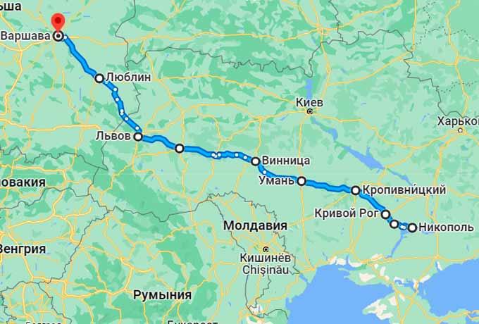Маршрут автобуса Никополь - Варшава