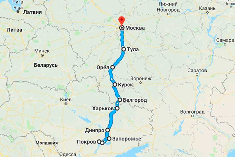 Маршрут автобуса Орджоникидзе (Покров) - Москва