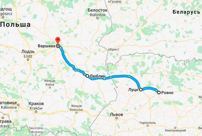 Маршрут автобуса Ровно - Варшава