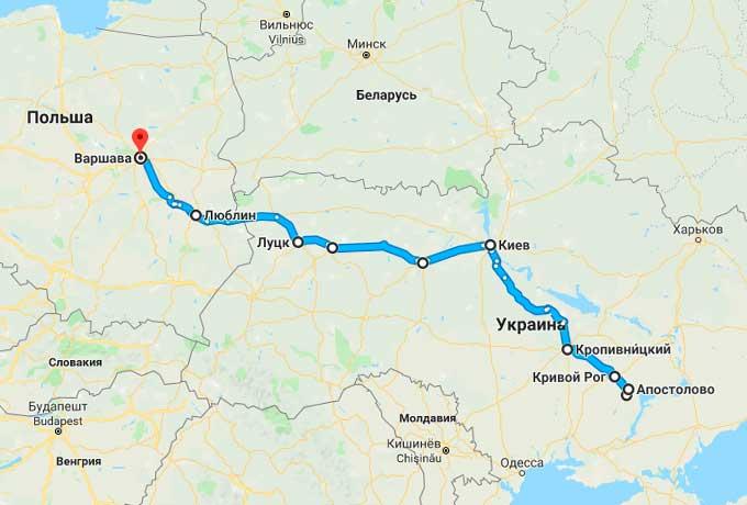 Маршрут автобуса Зеленодольск - Варшава