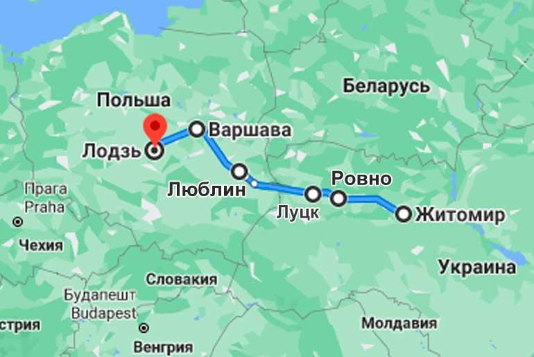 Маршрут автобуса Житомир - Лодзь